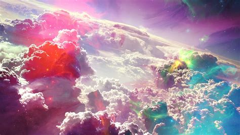 colorful clouds colourful clouds artwork wallpaper hdwallpaperfx