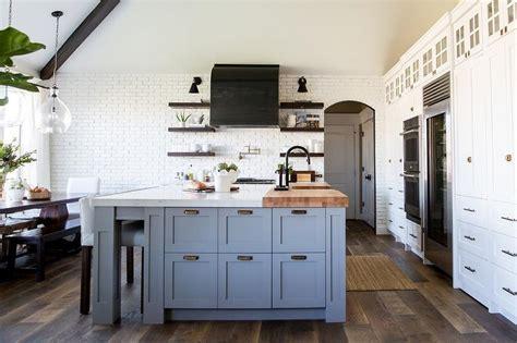 Gray Blue Kitchen Island with Antique Brass Vintage Pulls