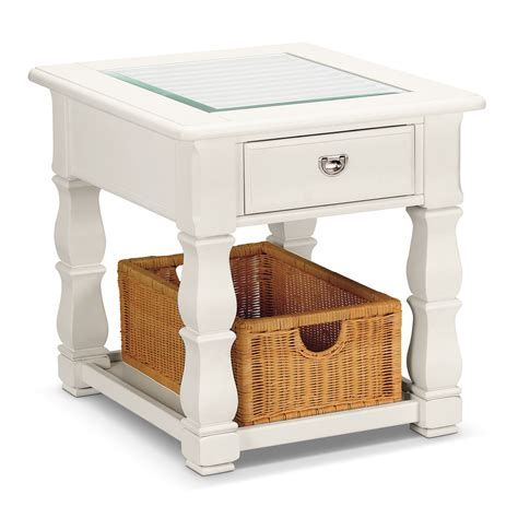 white end tables plantation cove end table white value city furniture