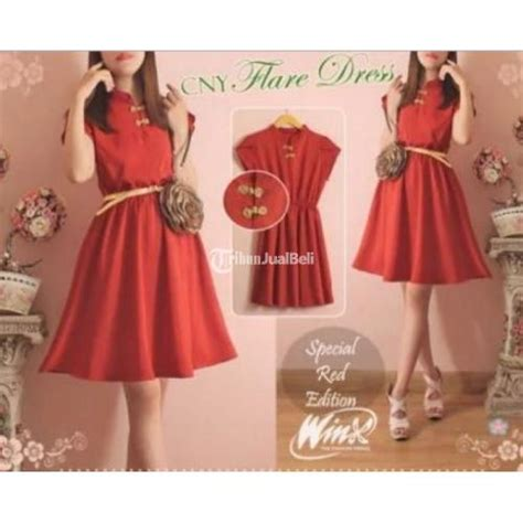 Dress Merah Imlek dress merah fashion menyambut imlek harga murah