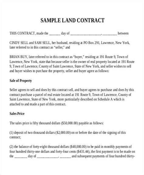 7 land contract templates free sle exle format
