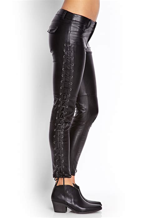 leather pants forever 21 lace up faux leather pants you ve been added to