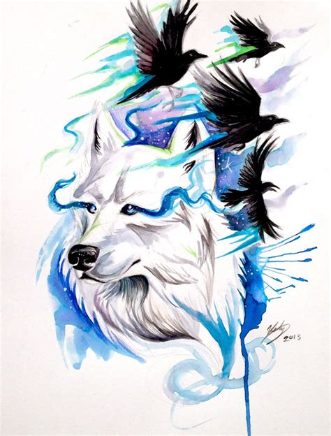 wolf and ravens print win original by lucky978 on deviantart