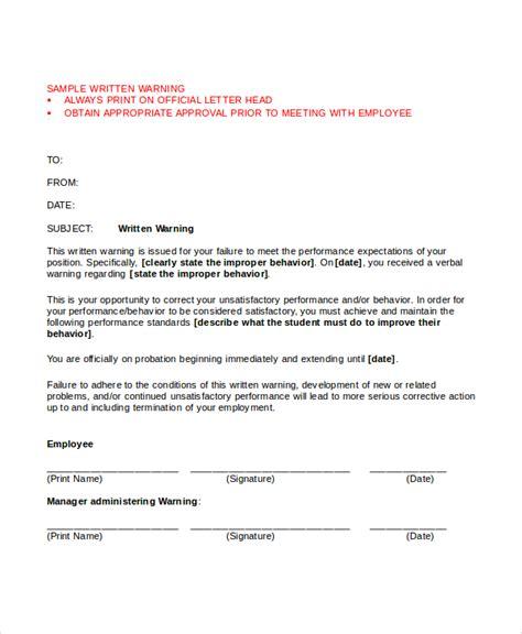 behavior warning letters aradiotkrhaurahiemistk sample memo letter