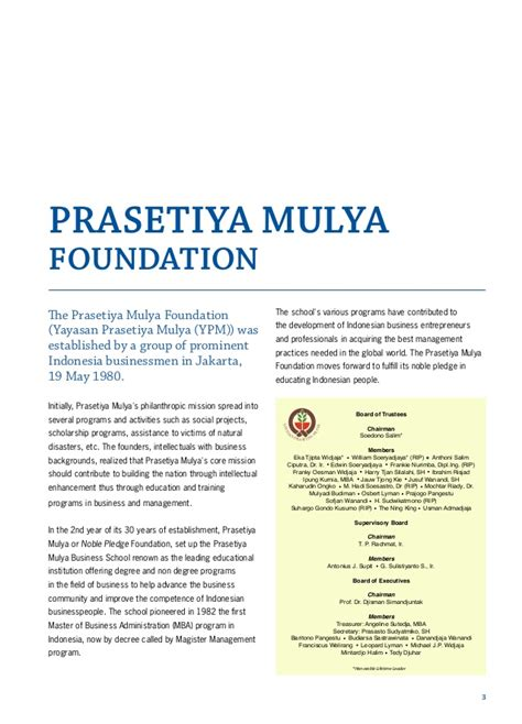 Mba Prasetiya Mulya by Brochure Prasetiya Mulya Graduate School Of Business