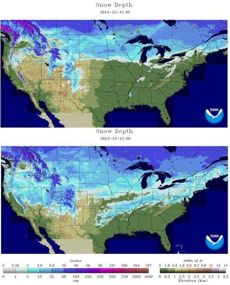 snow cover map usa us snow cover snow depth right now vs last year