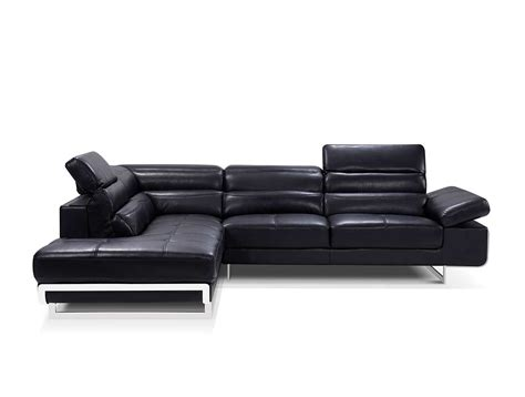 Modern Black Leather Sectional Sofa Ef347 Leather Sectionals Black Leather Contemporary Sofa