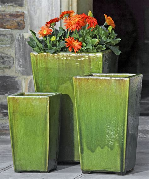 Large Ceramic Outdoor Planters Glazed Pottery And It S Garden Fountains