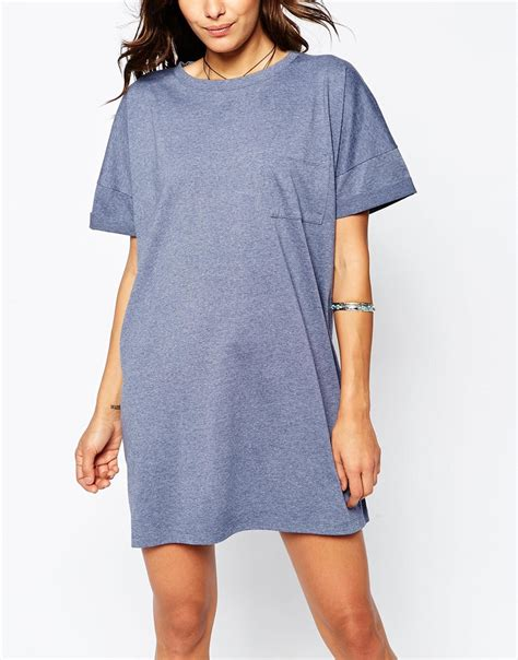 Oversize T Shape Dress Light Blue asos casual oversize t shirt dress with pocket in blue lyst