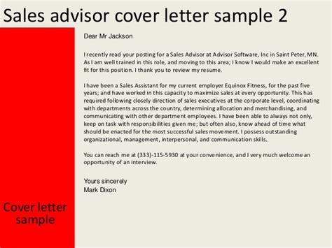 cover letter for sales advisor sales advisor cover letter