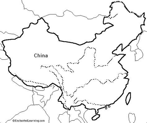 Great Wall Of China Map Outline by Outline Map China Enchantedlearning