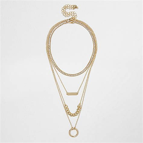 gold chain choker necklace by gold tone layered chain choker necklace chokers
