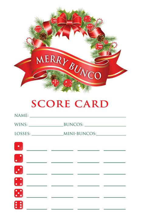 holiday bunco score card pinteres