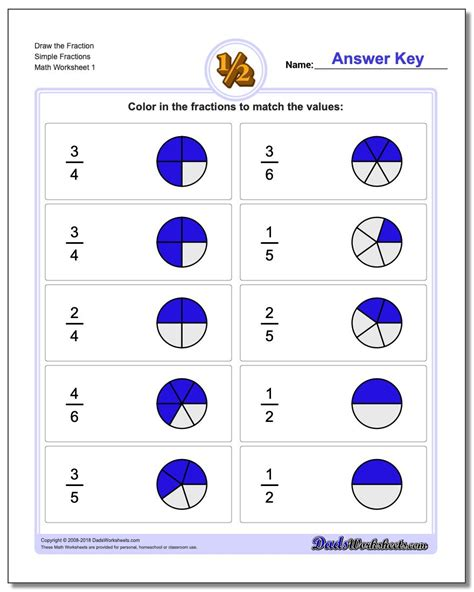 worksheets to help with fractions graphic fractions