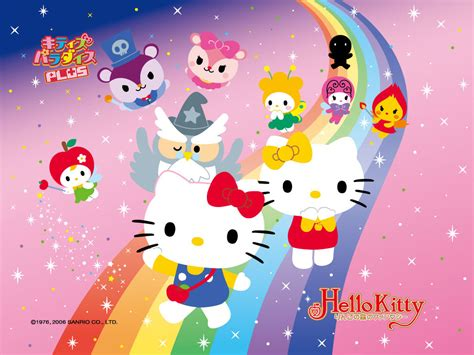wallpaper hello kitty rainbow cartoon characters pictures hello kitty character pictures