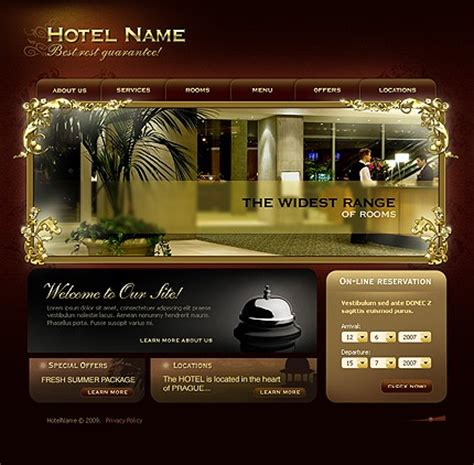 hotel website templates for asp net template 22142 hotel flash website template brown
