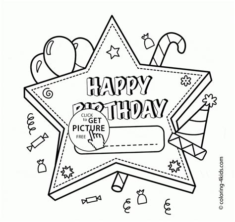 Happy Birthday Card To Color Printable by Happy Birthday Card Printable Coloring Pages Printable