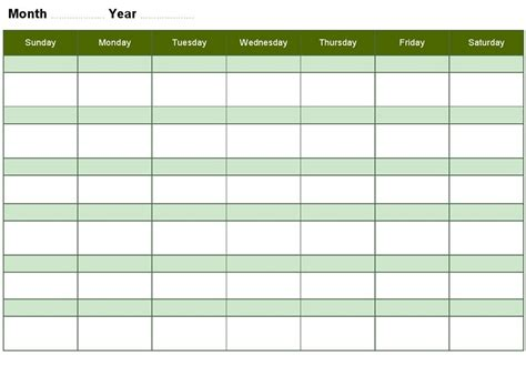 Blank Activity Calendar Template by Blank Calendars 2016 Week Days Calendar Template 2016