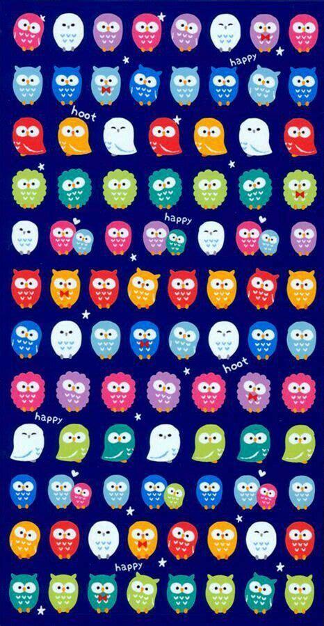 Wallpaper Sticker 478 buhos de colores papeles para imprimir