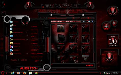 pc themes deviantart windows 7 themes alien tech red color by customizewin7 on