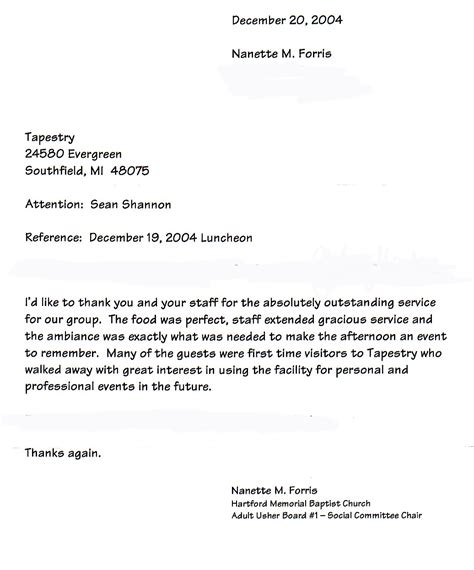 Reference Letter For Catering Tapestry Banquet And Catering