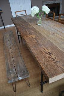 reclaimed wood  steel pipe leg table  hairpin leg