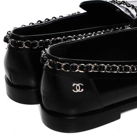 chanel leather loafers chanel leather chain loafers 36 5 black 94513
