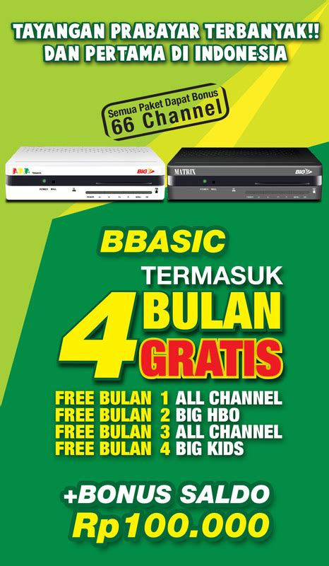 Harga Matrix Big big tv malang parabola
