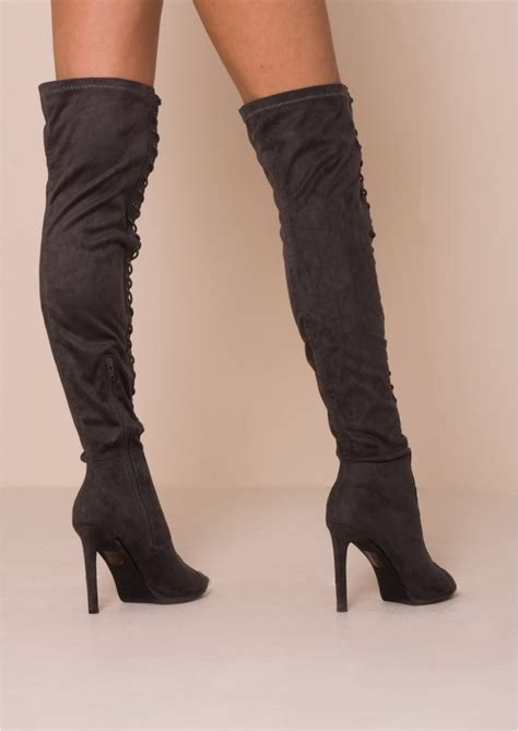 thigh high lace up flat boots boot yc