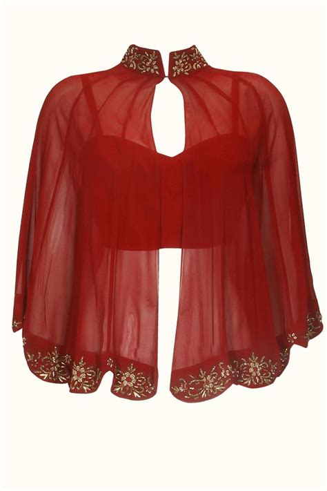 cape designs designer shrug pattern on red blouse get it done at http