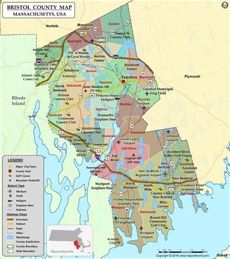 bristol map bristol county map massachusetts