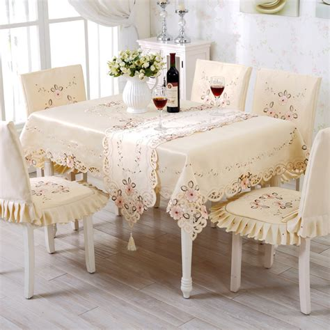 High Chair Table Cover by High End Pastoral Table Cloth Set Hollow Out Embroidery Dining Table Cover Europe Satin