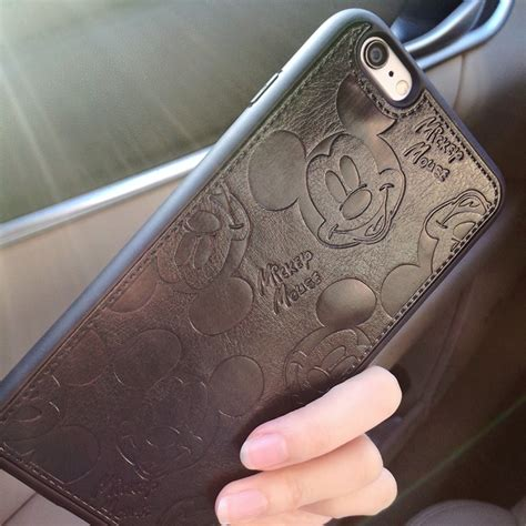 I Phone 7 Mickey Black pu leather mickey cases for iphone 7 6 6s plus soft white black mouse shell cover