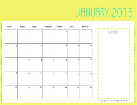 printable monthly calendar with space for notes free printable january 2015 calendars