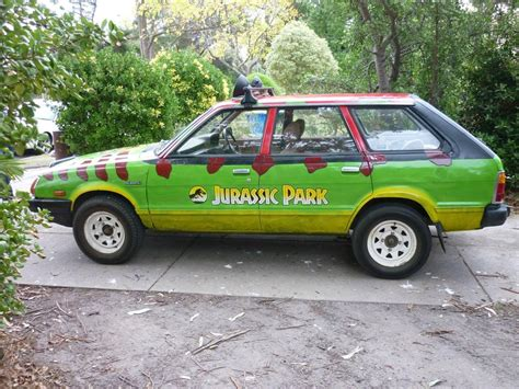 subaru old old subaru wagon turned into jurassic park tour car