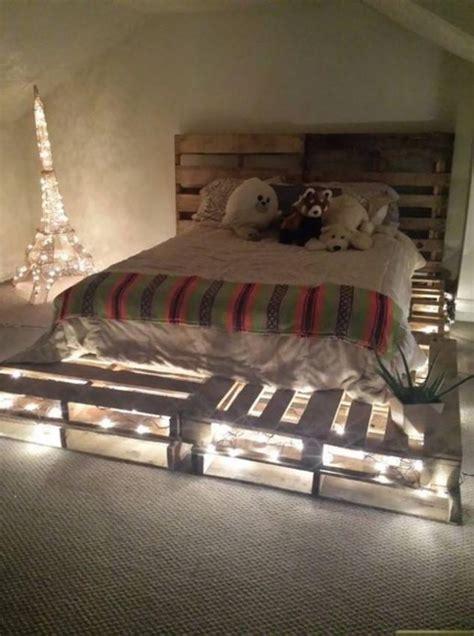 genius ideas  pallet bed  lights