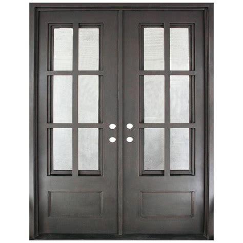 12 Lite Exterior Door Iron Doors Unlimited 62 In X 81 5 In Craftsman Classic 12 Lite Painted Rubbed Bronze Clear