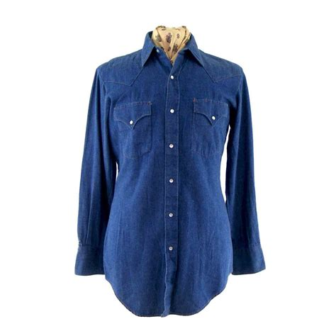 Western Denim Shirt miller denim western shirt blue 17 vintage fashion