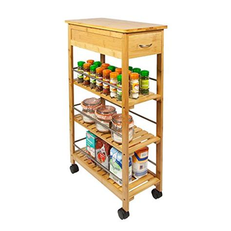 kitchen storage island cart woodluv slimline bamboo kitchen islands storage trolley