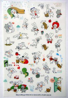 Monet Flower Crown Rabbit Diary Deco Stickers bunny rabbit plastic stickers from korea jumper king crown cat