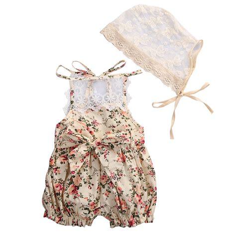 Floral Overall Set 1 2017 lovely newborn baby clothes set summer floral lace romper halter jumpsuit hat 2pcs