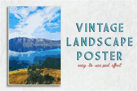 landscape poster template vintage landscape poster template by cr design bundles