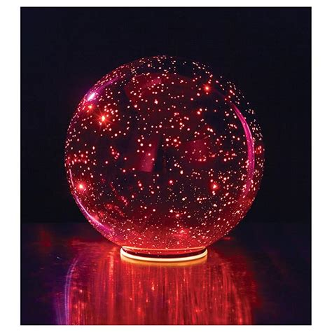 lighted mercury glass sphere red at signals hr9916