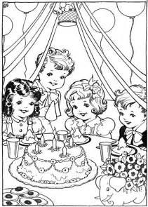 vintage coloring pages vintage kleurplaat verjaardag partijtje at