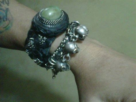 Gelang Kulit Batu Akik leather bracelet with sumatra jade sungai dareh jade and