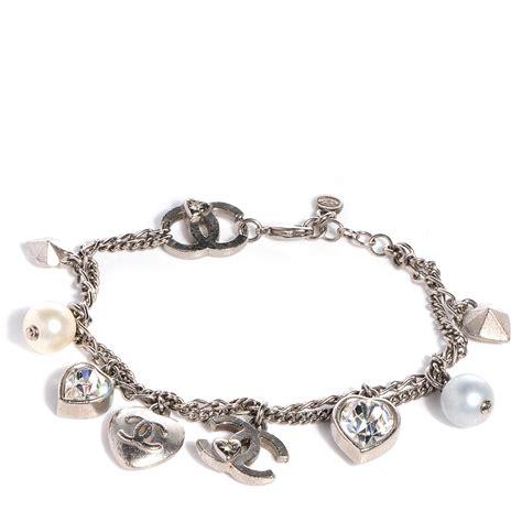 chanel pearl cc charm bracelet silver 68442