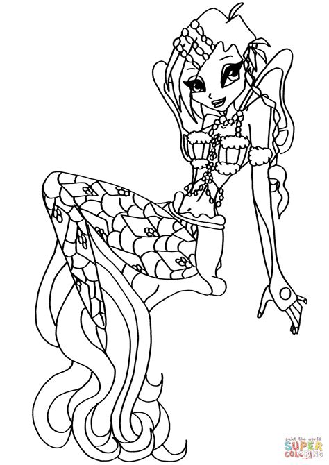 card mermaid coloring templates winx club mermaid tecna coloring page free printable