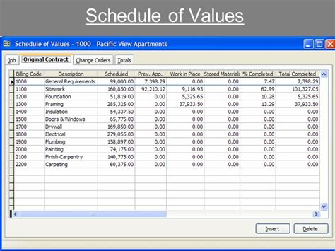 schedule of values template schedule template free