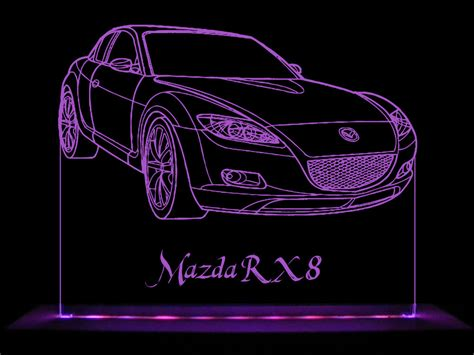 Acrylic Ac mazda rx8 led acrylic edge lit sign ac adaptor remote