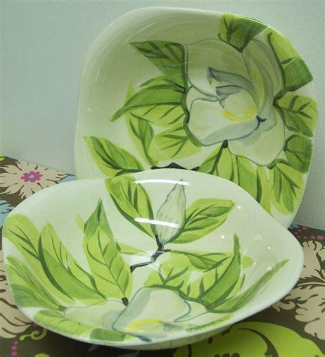 Magnolia Serving Setboel Set Of 9 1940s wing pottery chartreuse magnolia serving bowls